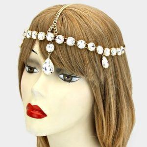 Gold Crystal Flapper Headpiece Dangle Hair Chain